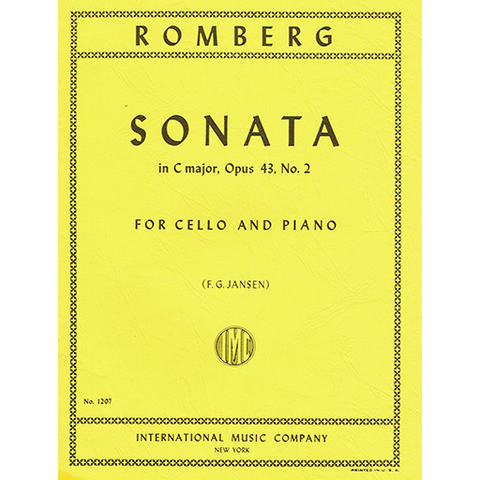 ***WAS $28.95*** Romberg - Sonata in Cmaj Op43/2 - Cello/Piano Accompaniment IMC IMC1207