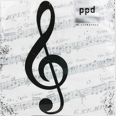Cocktail Napkin - white with black treble clef & silver manuscript. I Love Music.