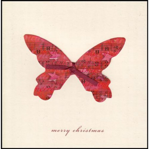 Greeting Card - Christmas. Red butterly with sheet music on its wings & a red bow. Merry Christmas.