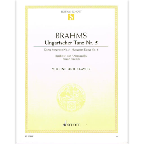 Brahms - Hungarian Dance #5 in Gmin - Violin/Piano Accompaniment Schott ED07595
