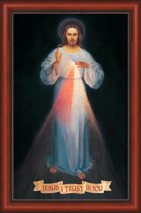 - Vilnius Divine Mercy 20x36 with Banner Text - SALE - Frame 10352