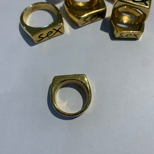 24K GOLD PLATED SEX RING (large SIZE T)