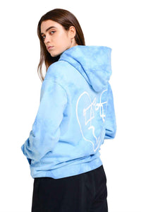 LUV TIE DYE BACK PRINT OVERSIZED HOOD  | BLUE