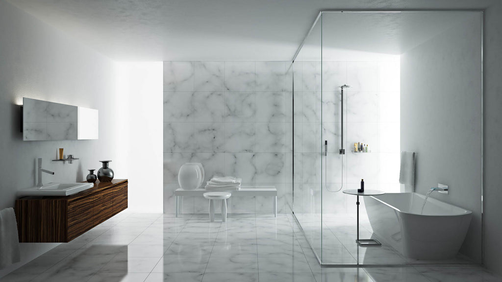 Inspiration for decorating your bathroom: Evoke clean & stylish sensation.