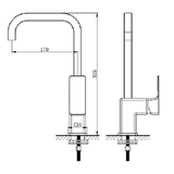 H2FLO - Black Square - Sink Mixer - SKU HFSU3431/BL - specification image