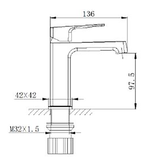 H2FLO - Black Square - Basin Mixer - SKU HFSU3440/BL - Specification Image
