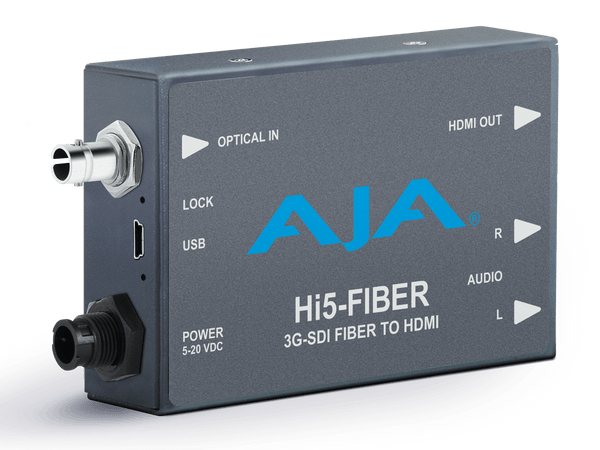 Mini convertor audio/video 3G-SDI pe fibra la HDMI AJA Hi5-Fiber