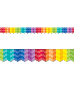 Painted Palette - Rainbow Herringbone Border
