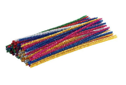 Pipe Cleaners - Glitter - Assorted Colours - Pack of 100