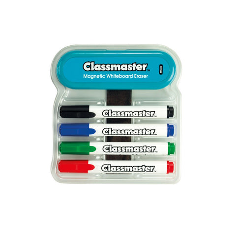 Classmaster Magnetic Whiteboard Organiser with Magnetic Eraser and 4 Pens