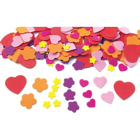 Hearts and Flowers Foam Shapes - 150 Pieces