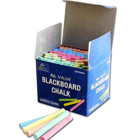 Big Value Blackboard Chalk 100 Box - Assorted Colours