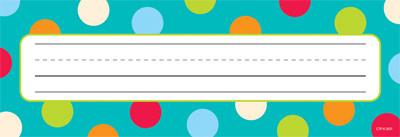 Desk Top Name Plates - Dots on Turquoise Pack of 36