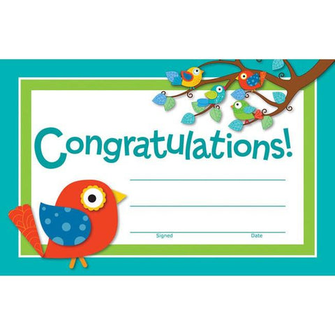 "Boho Birds Congratulations Reward Certificates (8 1/2"" x 5 1/2"") - Pack of 30"