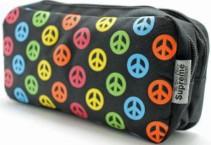 Peace Sign Pencil Case - Double Pocket & Zips