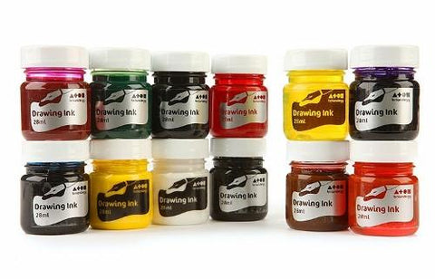 Drawing Ink 28ml Bottle Assorted - Set of 12