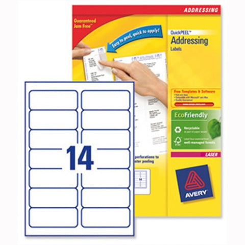Avery Laser Address Labels Quick PEEL 99.1x38.1mm 14 Per Sheet White (Pack of 1400)