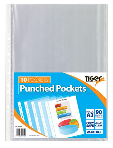 Tiger A3 Portrait Punched Poly Pockets - Pack of 10