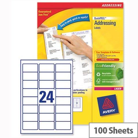 Avery Laser Address Labels Quick PEEL 64x33.86mm 24 Per Sheet White (2400 Pack)