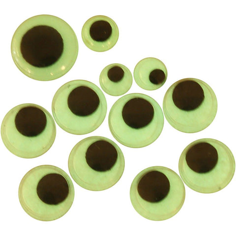 Wiggle Eyes - Luminous Assorted Sizes Pack 30