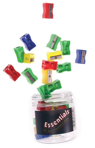 Essentials Tub Plastic Pencil Sharpeners - Assorted Colours (Pack of 30)