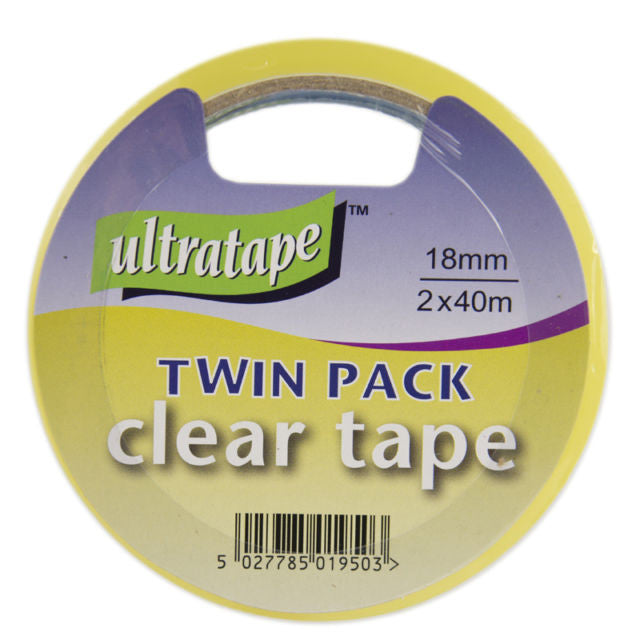 UltraTape 18mm x 40m Clear Sello Tape Packing Tape Roll For Gift Wrap