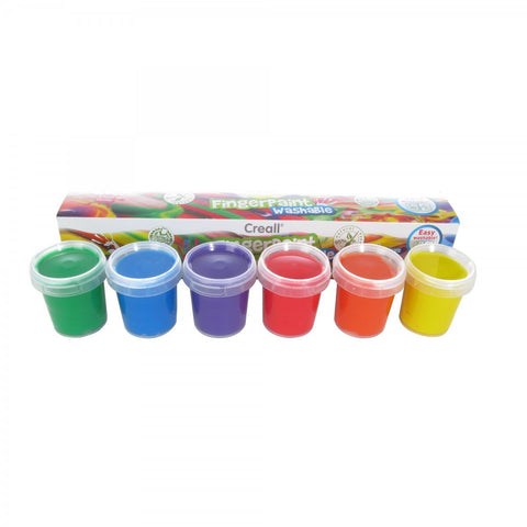 Creall® Washable - Fingerpaint 50ml - Assorted Colours Set of 6