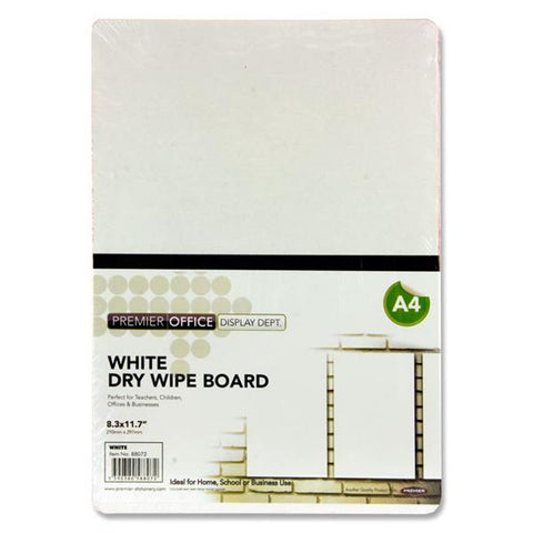 Premier Office A4 White Dry Wipe Board - Pack of 10