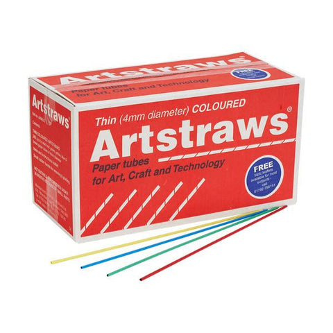 Artstraws School Pack 1800 - Thin Assorted Colours 4mm (Diameter)