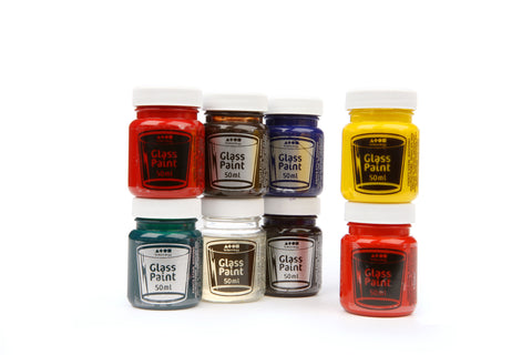 Glass Paint Assorted Standard Colours 8 x 50ml Tubs