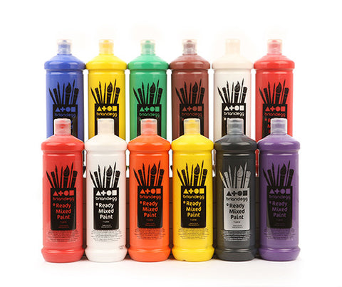 Assorted Set of 12 Colours - Ready Mixed Paint - 1 Litre
