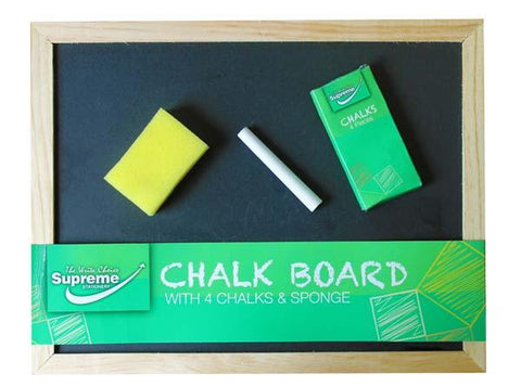 "Chalk Board with 4 Chalks and Duster 12"" x 9"""