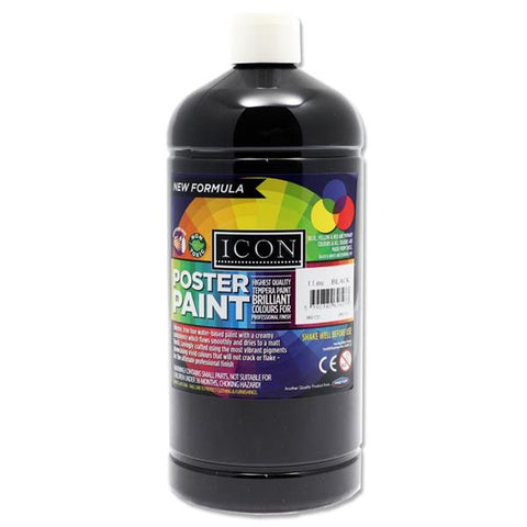 Icon Art Poster Paint 1 Litre - Black