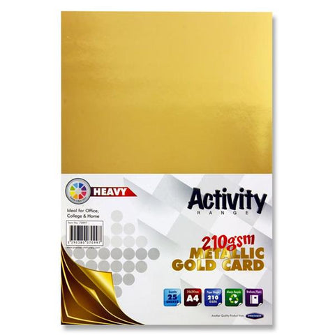 A4 Activity Heavy Card 25 Sheets 210gm - Gold