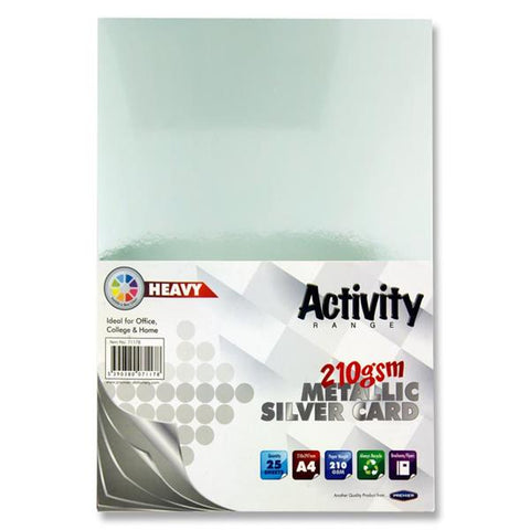 A4 Activity Heavy Card 25 Sheets 210gm - Silver