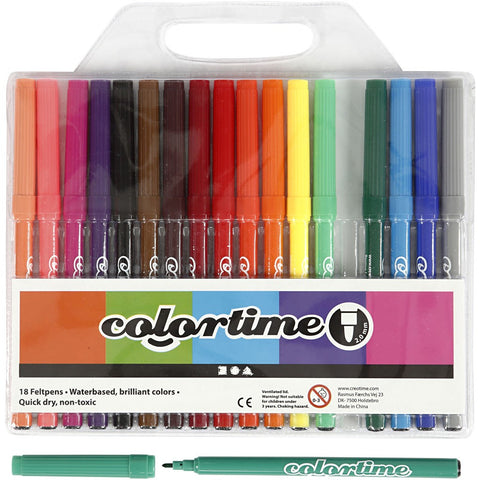 Colortime Markers - Assorted Colours Pack of 18
