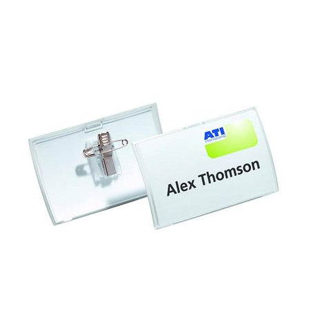 Durable 54x90mm Combi Clip Name Badge (Pack of 25) 8214/19