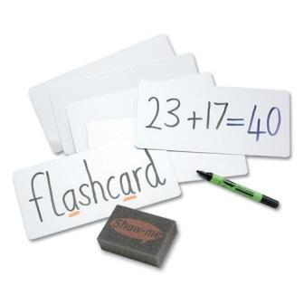 1/3 A4 Drywipe Whiteboard Flashcards 10 Pack