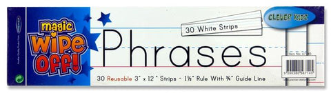 "Clever Kidz Magic Wipe off Phrase Strips - White 3"" x 12"" Pack of 30"