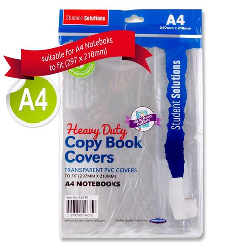 Student Solutions A4 PVC Heavy Duty Copy Book Covers - Pack of 5