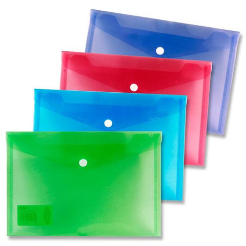 Premier Universal A5 Button Wallet Envelope Clear Pack 4 Assorted Colours