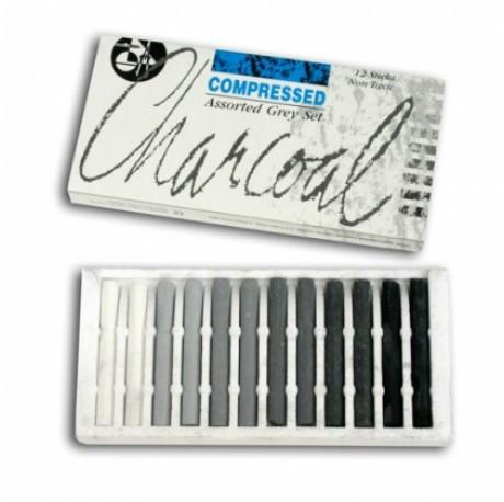 Jakar Compressed Charcoal Assorted Grey (Black to White) Set of 12