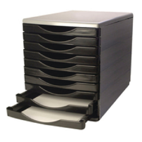 Q-Connect Black and Grey 10 Drawer Tower