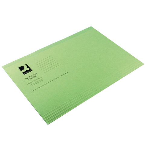 Q-Connect Square Cut Folder Lightweight 180gsm Foolscap Green (Pack of 100)