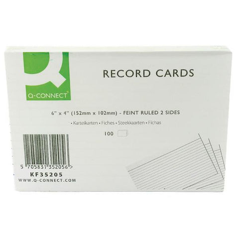 Q-Connect Record Card 6x4 Inches Ruled Feint White (100 Pack) KF35205