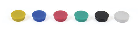 Magnets - Assorted Colours - 24mm Pack of 6