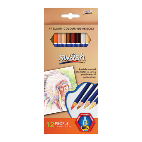 Swash Premium Colouring Pencils Assorted Skin Tones Box 12