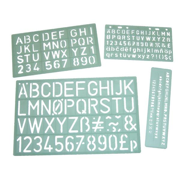 lettering stencils set of 4 templates 5mm to 30mm schoolquip com