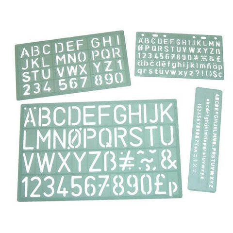 Lettering Stencils - Set of 4 Templates 5mm to 30mm