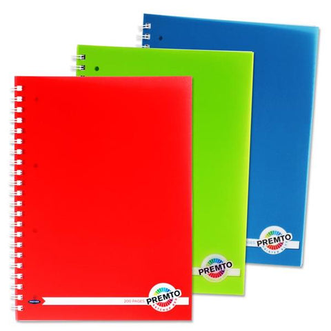 Premto A4 200pg PP Wire Notebooks Assorted 3 Pack
